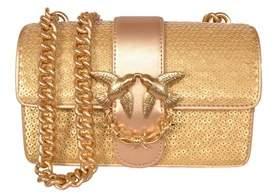 Pinko Women's Gold Leather Shoulder Bag.