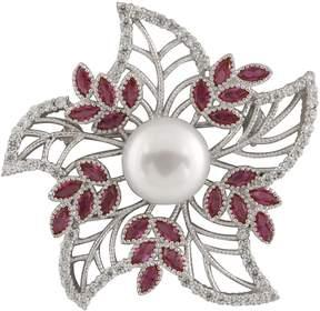 Bella Pearl Fancy Sterling Silver Flower Brooch