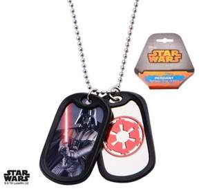Star Wars Stainless Steel Dart Vader with Rubber Silencer Double Dog Tag Pendant Necklace