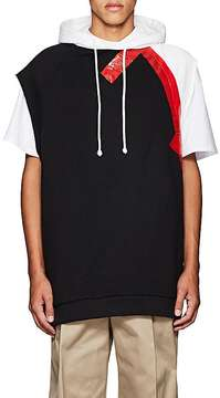 Raf Simons Men's Duct-Tape-Detailed Cotton Oversized Sleeveless Hoodie