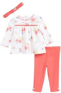Little Me Fun Flower Tunic, Leggings & Headband Set (Baby Girls)