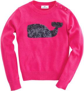 Vineyard Vines Girls Sequin Whale Crewneck Sweater