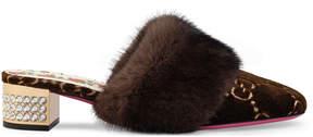 Gucci GG velvet slide with mink fur