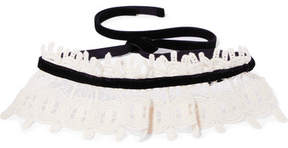 Anna Sui Natural Corded Cotton-lace And Velvet Choker - Cream