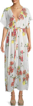 philosophy Sheer Floral Kimono-Sleeve Belted Coverup Dress