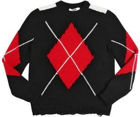 MSGM Argyle Destroyed Wool Blend Sweater