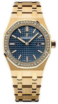 Audemars Piguet Royal Oak Blue Dial Ladies 18 Carat Yellow Gold Watch