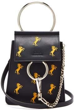 Chloé Faye Mini Little Horses Embroidered Bag - Womens - Navy Multi