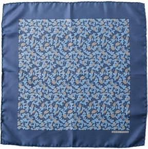 Hermes Blue Silk Pocket Square