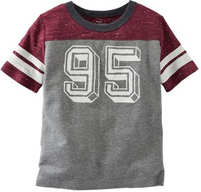 Osh Kosh Boys 4-8 Short Sleeve Number Graphic Speckled Colorblock Tee