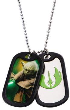 Star Wars Stainless Steel Yoda with Rubber Silencer Double Dog Tag Pendant Necklace