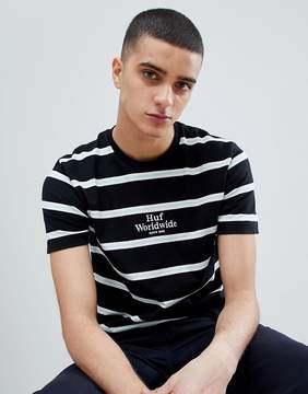 HUF Golden Gate Stripe T-Shirt With Embroidered Logo In Black
