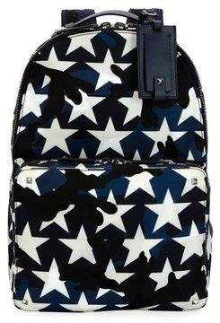Valentino Camustars Nylon Backpack, Marine Blue