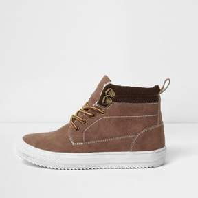 River Island Boys brown ankle cleated sole boots