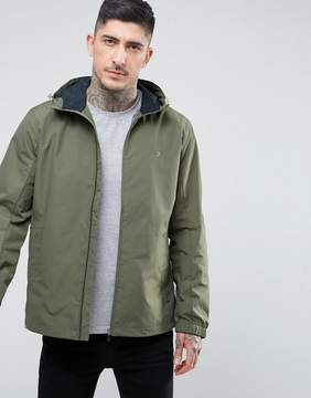 Farah Newbern Nylon Zip Through Hooded Jacket in Green