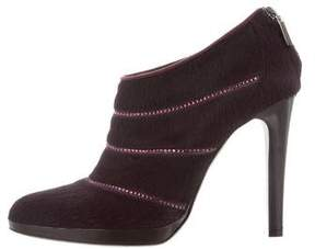 Rene Caovilla Strass-Trimmed Ponyhair Booties