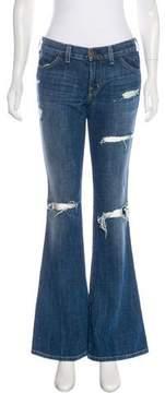 Current/Elliott Distressed Mid-Rise Wide-Leg Jeans