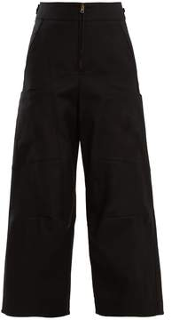 Chloé High-waist wide-leg cotton-blend trousers