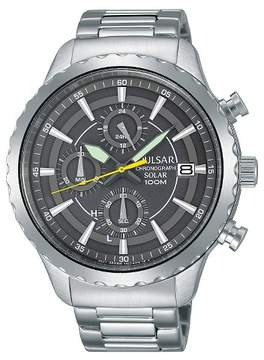 Pulsar Men's Solar Chronograph - Silver Tone with Gray Dial PZ6011