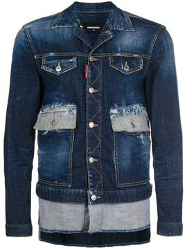 DSQUARED2 asymmetric distressed denim jacket
