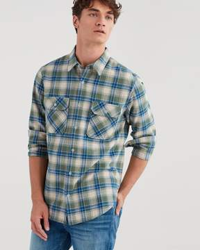 7 For All Mankind Long Sleeve Distressed Desert Plaid Shirt in Myrtle Green
