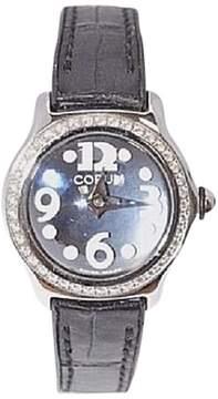 Corum Bubble 101.151.47 Stainless Steel and Leather Diamond Bezel Quartz 26mm Womens Watch