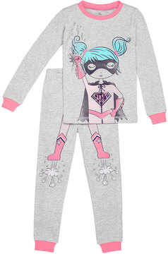 Petit Lem Girl's Super Me Two-Piece Pajama Set, Gray, Size 12-24 Months