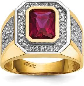 Ice 14k CZ & Emerald-cut Red CZ Mens Ring