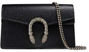 Gucci Super Mini Dionysus Leather Shoulder Bag - Black - BLACK - STYLE