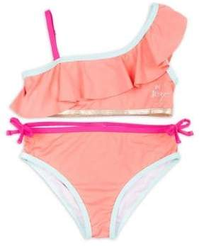 Betsey Johnson Girl's Two-Piece One-Shoulder Swimsuit