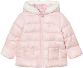 Mayoral Pink Reversible Coat with Faux Fur Lined Hood