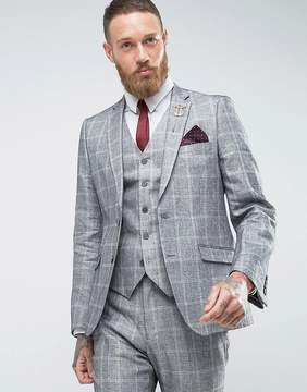 French Connection Slim Fit Linen Check Jacket