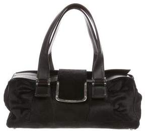Sergio Rossi Leather-Trimmed Ponyhair Bag