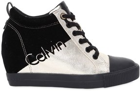 Calvin Klein Jeans 70mm Rory Metallic Canvas Wedge Sneakers