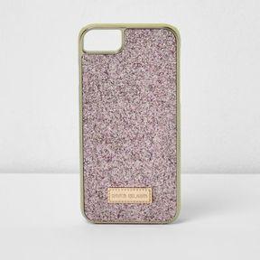 River Island Womens Pink glitter phone case