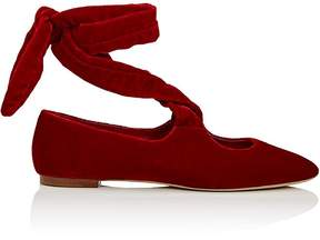 The Row Women's Velvet Ankle-Tie Flats