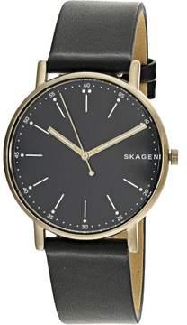 Skagen Men's Signature SKW6401 Black Leather Japanese Quartz Fashion Watch