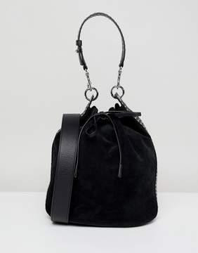 AllSaints Suede Bucket Bag with Stud Strap