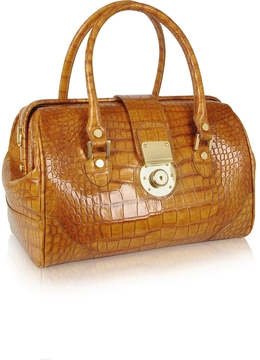 L.A.P.A. Camel Croco Stamped Leather Doctor Bag