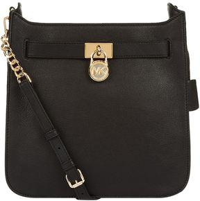 Michael Kors Medium Hamilton Leather Messenger Bag - BLACK - STYLE