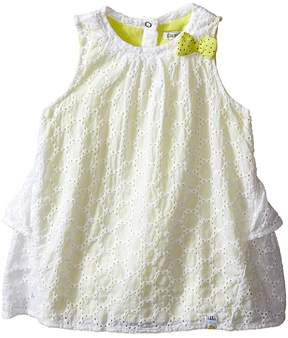 Ikks Eyelet Sleeveless Dress Over Neon Yellow Jersey with Bow Ruffle Back w/ Snaps (Infant/Toddler)