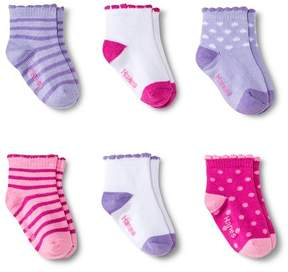 Hanes Toddler Girls' 6-Pack Ankle Socks - Multicolored