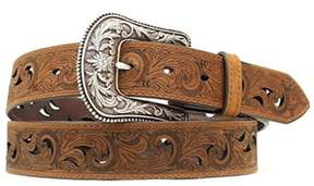 Ariat A1514802-L 1.5 in. Womens Paisley Design Cutout Leather Belt, Brown - Large