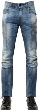 Pierre Balmain 15.5cm Washed Stretch Denim Biker Jeans