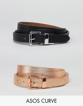 Asos 2 Pack Reversible Buckle Waist & Hip Belts