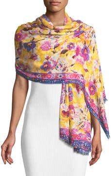 Neiman Marcus Multicolor Floral Fringe Stole