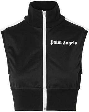 Palm Angels Cropped Striped Satin-jersey Top - Black