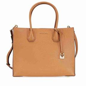Michael Kors Mercer Large Bonded Leather Tote - Acorn - BROWN - STYLE
