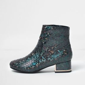 River Island Girls turquoise mermaid block heel boots