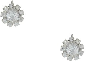 Cezanne Crystal and Rhinestone Flower Stud Clip Earrings